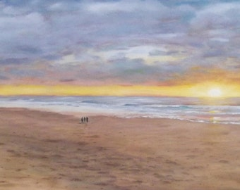 Sunset Praia Grande do Rodizio-Sintra. Original oil on canvas. 35x12in. 90x30cm. Free Shipping