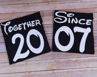 """Anniversary shirts - Couples shirts - """"Together since..."""" shirts - Bridal shower - wedding - Couple T-shirts set """"Together Since...."""""""