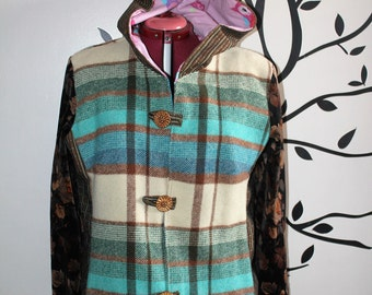 ladies size aus 14 to 16/18 boho winter jacket, vintage blanket, vintage wool, fully lined, one of a kind