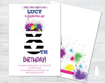 art birthday party invitation, art  party invitation, paint party invitation, watercolor birthday party invitation, paint birthday party
