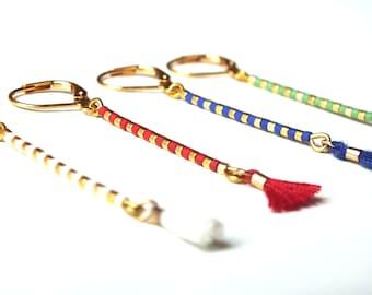 "Earrings ""Pompoko"", golden earrings, miyuki beads, bohemian style"