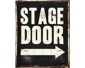 Stage Door Arrow customizable - Enamel Metal TIN SIGN Wall Plaque