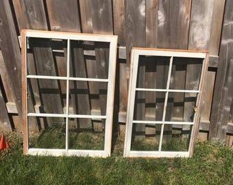ON SALE wood window frame - wood window pane - 6 pane wood windows - vintage wood windows - rustic wood windows - wood window for wedding
