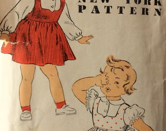 New York 1225 girls jumper and blouse size 3 vintage 1950's sewing pattern