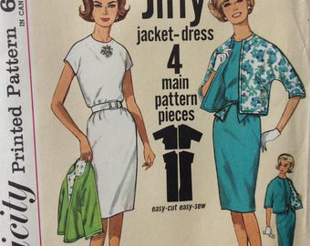 Simplicity 4897 vintage 1960's misses Jiffy dress & jacket sewing pattern size 12 bust 32  Uncut  Factory folds