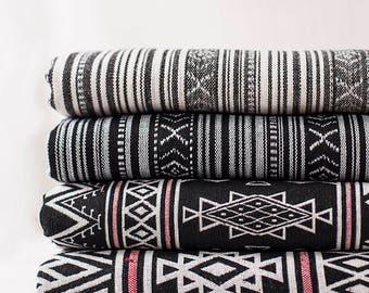 Bohemian Fabric, Ethnic Tribal Fabric, BOHO Style Upholstery fabric, Black and White, 4 styes available - 1/2 yard