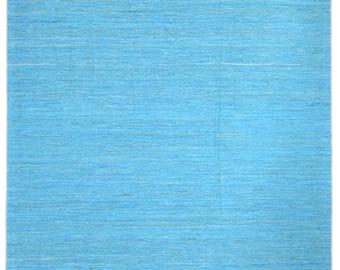 Handmade Sky Blue Sari Silk Rug S2545 - 8' x 10'