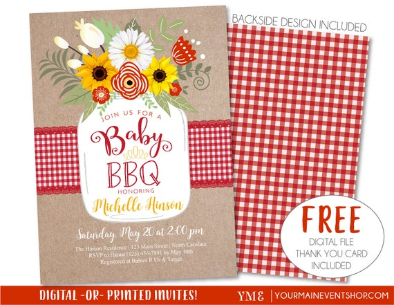 Baby BBQ Invitation, Baby Shower Invite, Baby Q Barbeque Summer Invition Printable, Mason Jar Floral