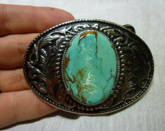 B78 Leaf Design Belt Buckle with Large Turquoise Center Stone.
