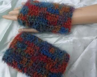crochet hand warmers fingerless mitts 80% mohair
