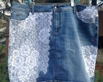 Plus Size Skirt, Lace Denim Skirt, Size 24 Skirt, Plus Size Jean Skirt, Knee Length Skirt, Cowgirl Skirt, Jean Midi Skirt, Country skirt