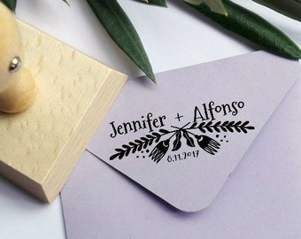 Custom Wedding Date and Name Ink Stamp,Personalizable Wedding Rubber Stamp -1032260117-