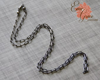 Sterling Silver Long Box Chain, Oxidized, Rustic Necklace, Finished Necklace, Drawn Rectangle