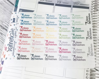 S717 || CLEAN KITCHEN Stickers for Planner (38 Removable Matte Stickers)