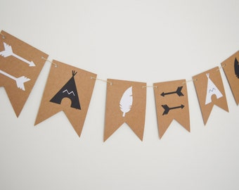 Adventure Teepee Bunting, Wild Room Nursery Decoration, Children's Kids Room Banner, Monochrome, Black and White, Feathers, Arrows