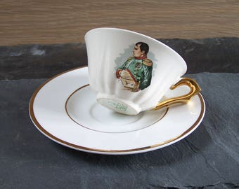 Napoleon coffee cup Salins earthenware and white porcelain saucer vintage Made in France