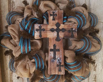 Brown and turquoise burlap cross wreath