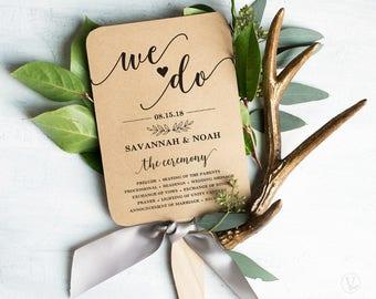 Wedding Fans, Printable Wedding Fan Program Template, Fan Wedding Program, Editable text, Modern Calligraphy, We Do VW10