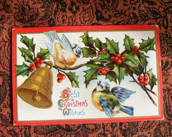 1912 Christmas Postcard Blue Birds on Holly Branch with Golden Bell with Valparaiso Indiana Postmark Embossed Holiday Card ~ 7403a