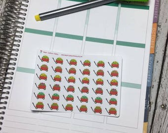 Floral Red Wagon Stickers