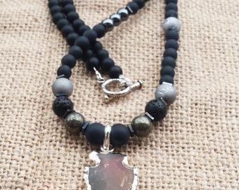 Jasper Arrowhead Pendant Mens Necklace Gemstones Bead Necklace Pyrite Hematite Onyx Geode  Necklace Gifts For Him Boyfriends Gifts Arrow