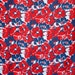 Vintage red blue white large floral pattern on synthetic shantung - hawaiian inspired pattern