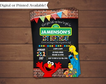 Sesame Street Invitation, Elmo Invitation