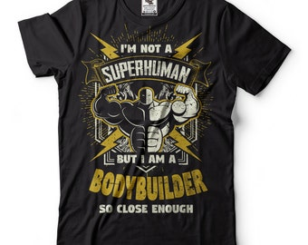 Bodybuilder T-Shirt Funny Superhuman Bodybuilder GYM Tee Shirt