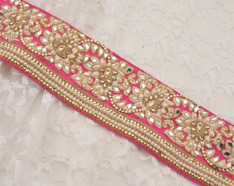 KK Hand Beaded Party Prom Dress Border 1 Yd Trim Pink Craft Lace Mirrors Pearls