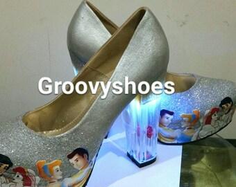 Light up princess glitter courts. Rose heel.free gift
