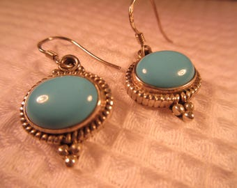 Cool Retro Sterling Silver Turquoise Earrings