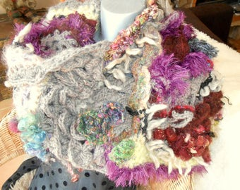"Collar/shawl ""Apotheosis"" in freeform crochet"