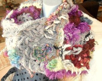 """Grand finale"" in freeform crochet shawl/collar"