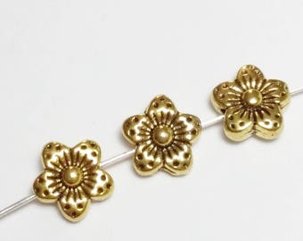 10pcs Gold Flower Beads - Metal Beads - Gold Tone Beads - Floral Beads - Nature Beads - Jewelry Supplies - 9mm Beads - B34725