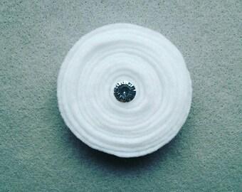 Handmade Felt White Rose Pin- Bright White
