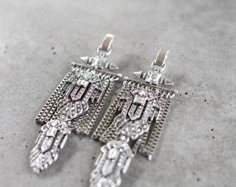 SALE! Statement Earrings - Handcrafted: Ellis. Silver & crystal ethnic bohemian chandelier drop earrings