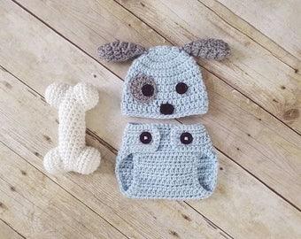 Newborn Puppy Set, Baby Puppy Outfit, Newborn Puppy Hat, Newborn Photo Prop, Dog, Baby Halloween Costume, New Mom Gift, Baby Shower Gift