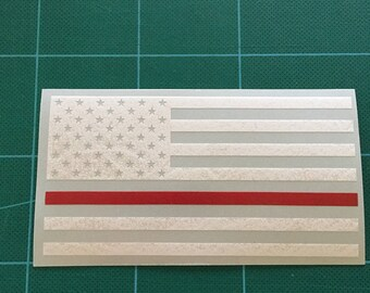 Thin Red Line Flag (solid union) USA Vinyl Die Cut Decal/Sticker