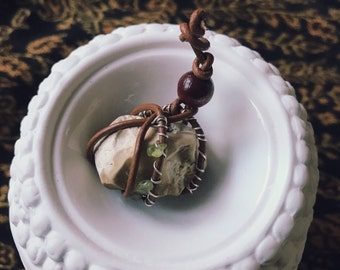 fancy stone pendants with leather wrap and wire