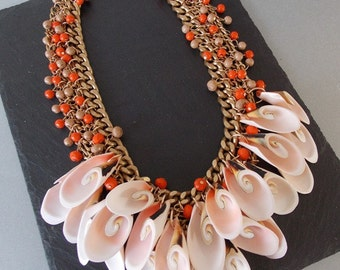 Chunky Orange Bead and Shell Statement Necklace
