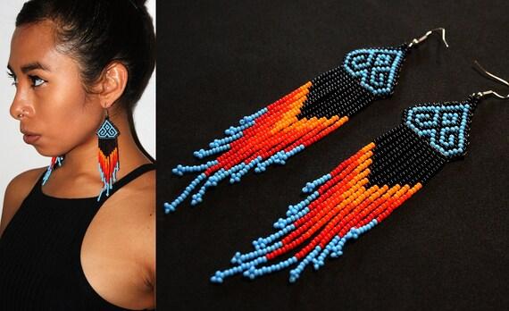 Native American Earrings, Boho Earrings, Huichol Indian Earrings, Mexican Beaded Earrings, Beaded Tribal Earrings, Traditional Beading