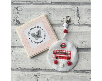 Bus bag tag, boys bag tag, party favours, London transport, gifts for boys