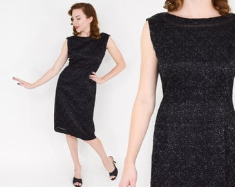 50s Ribbon Dress   Little Black Wiggle Dress   Metallic Party Dress   Medium