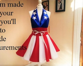 Captain America inspired dress .MADE TO MEASURE.