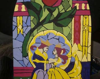 Beauty and the Beast- Stain glass replica painted on wood.