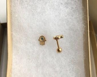 Gold Hamsa Hand Cartilage Tragus  Earring. 16 gauge.