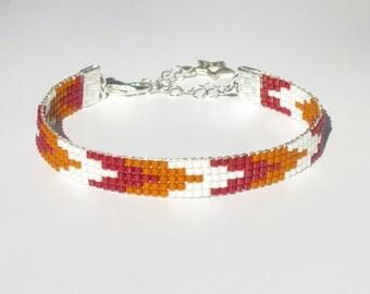 Chevron Miyuki Delica Beaded Bracelet Everyday Bracelet Bead Woven Bracelet Jewelry Beads Red Mahogany White