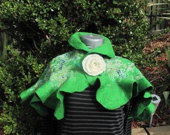 Green hug: nuno felted merino wool scarf