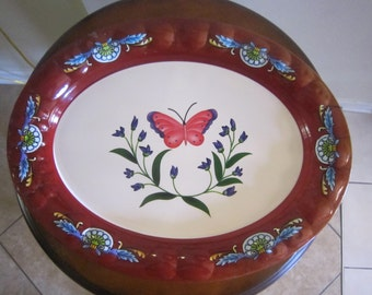 vintage plastic serving tray largetray oval tray serving tray floral butterfly tray