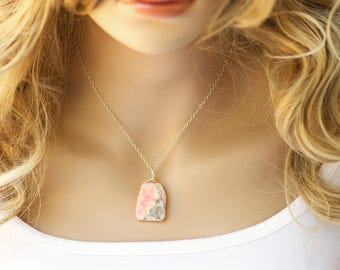 Raw Opal Necklace - Rough Opal Necklace - Pink Peruvian Opal - Silver Opal Necklace - Opal Necklace - Opal Jewelry - Raw Opal Pendant